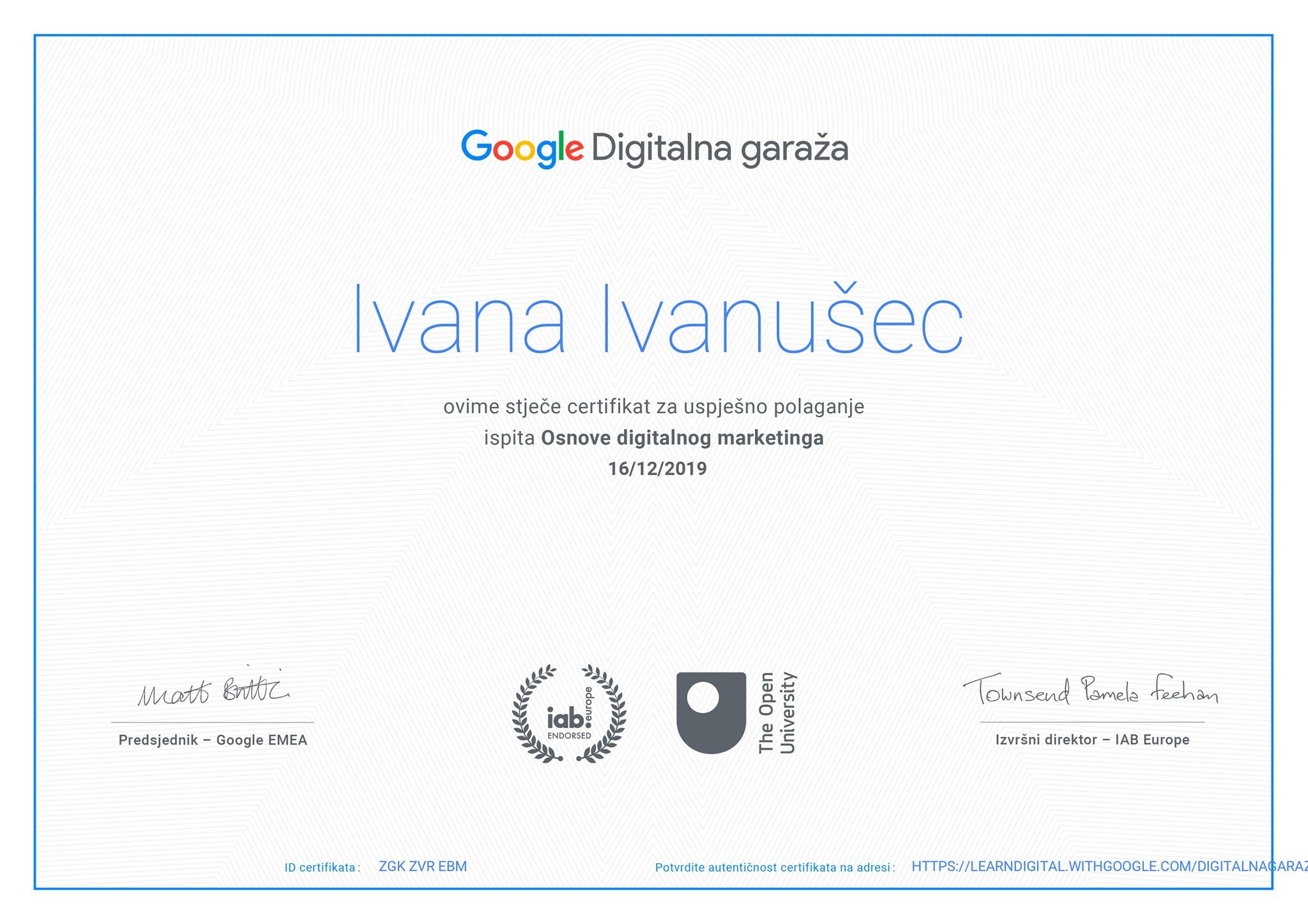 Google Digitalna garaža - certifikat za digitalni marketing